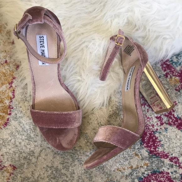 665dd9ce7da Steve Madden Shoes - Steve Madden Carrson - Pink Velvet Gold Heel